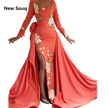 Sexy Side Split Mermaid Evening Dresses With Detachable Skirt Africa Middle East Dubai Long Sleeves Prom Dress Robe De Soiree недорго, оригинальная цена