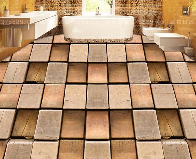 Vinyl Vloer Verven : Custom 3d vloeren waterdicht muur papier houten stakes 3d vloer