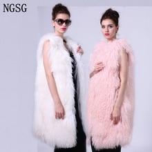 Mongolia Sheep Fur Sleeveless Vest 90 cm Length Pure White Color For Cute Girl Women Office Worker Female Soft Material SF13050