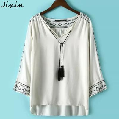 Women Tops And Blouses Summer Style Pattern Embroidery V Neck Long