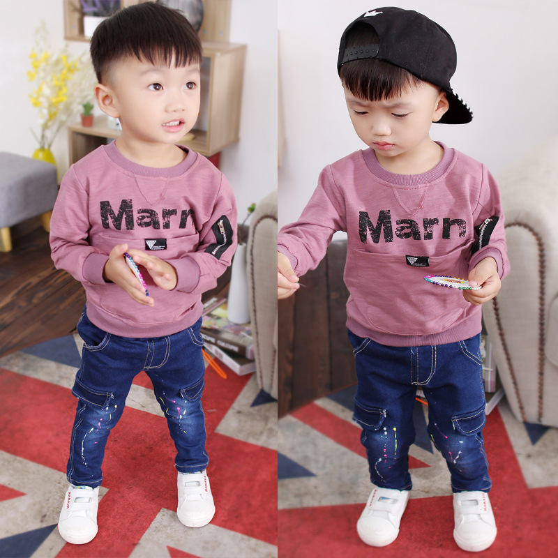 2017 Rushed Formal Cotton Full Minnie Mouse Childrens New Baby Autumn Suit Round Neck Sweater Children Jeans Two Long Sleeves