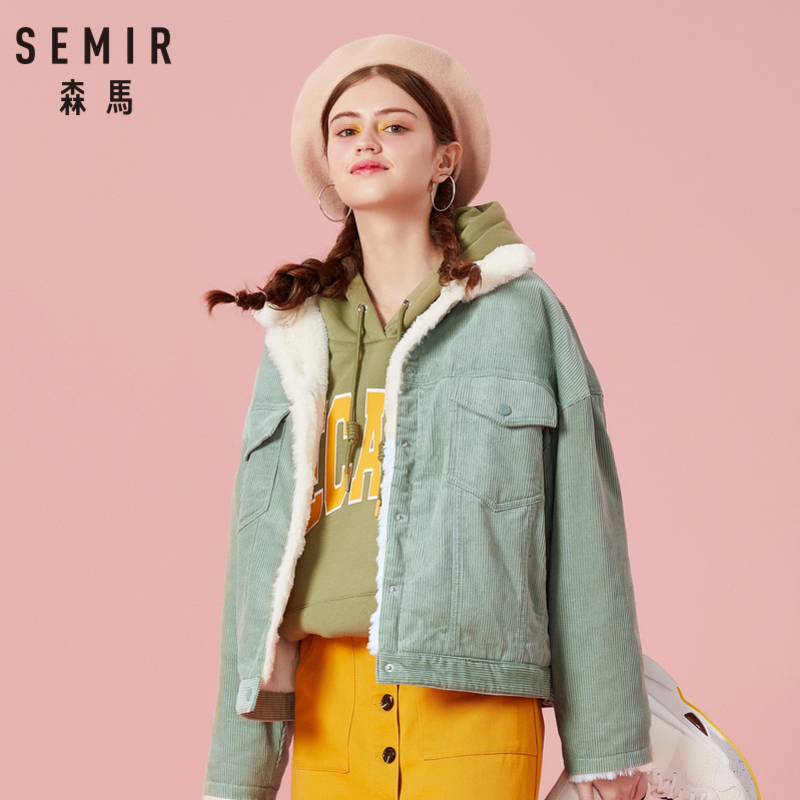 SEMIR Women Pile-Lined Corduroy Jacket with Chest Pocket and Slant Pocket Womens Short Sherpa-Lined Corduroy Jacket Cozy Style