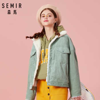 SEMIR Women Pile-Lined Corduroy Jacket with Chest Pocket and Slant Pocket Womens Short Sherpa-Lined Corduroy Jacket Cozy Style - DISCOUNT ITEM  58% OFF All Category