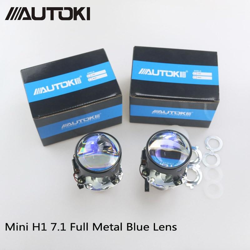 AUTOKI Car Styling Mini 2 5 inches HID Bi xenon Headlight Projector Blue Lens Retrofit DIY