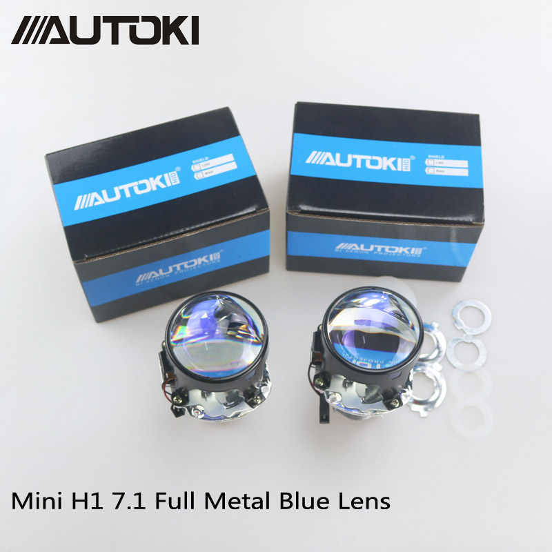 AUTOKI Car Styling Mini 2.5 inches HID Bi xenon Headlight Projector Blue Lens Retrofit DIY H7 H4 Headlamp Lenses, Use H1 Bulbs