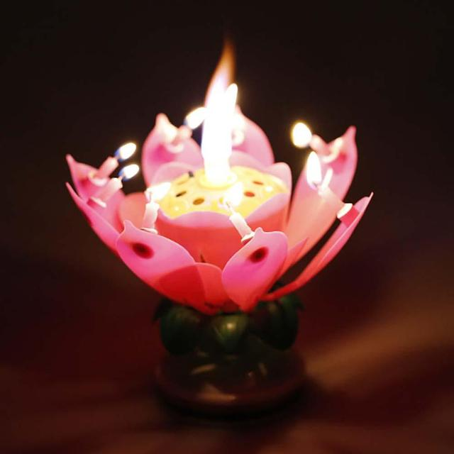 Us 235 28 Off2018 New Art Musical Candle Lotus Flower Happy Birthday Party Gift Rotating Lights Decoration 8 Candles Lamp Pink In Cake Decorating
