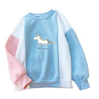 df830caa2ecb00 Harajuku mujeres Hoodies Otoño Invierno Patchwork contraste Color bloque  sudaderas Kawaii unicornio ...