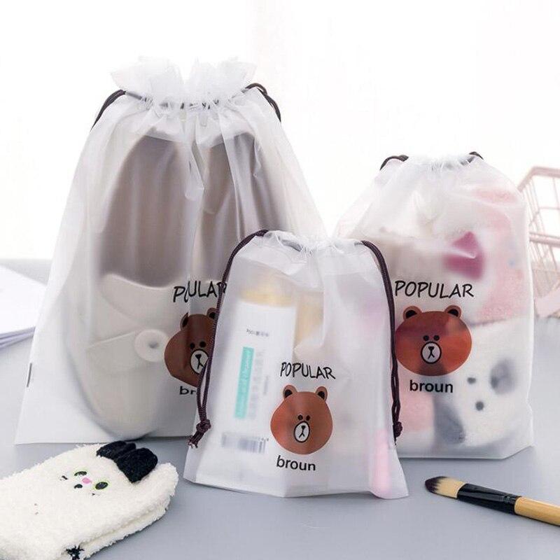 5Pcs/lot Creative Portable Travel Cosmetics Bundle Pocket Cartoon Brown Bear Drawstring Portable Dust Bunch Pocket