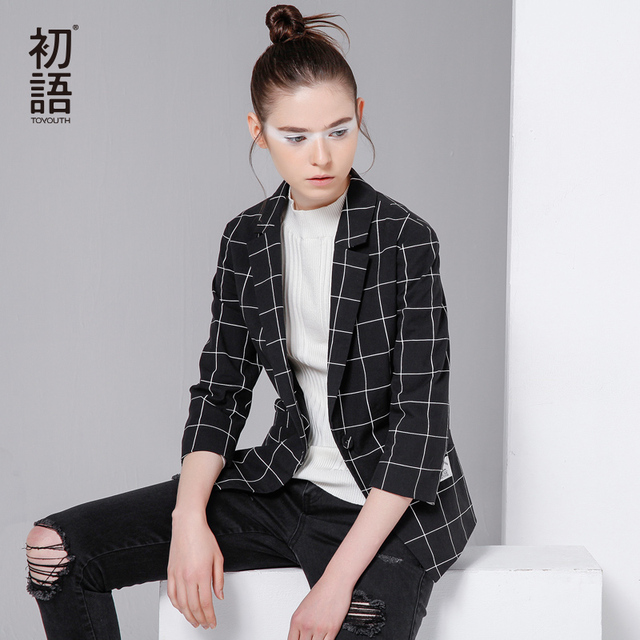 Toyouth 2017 Women Blazers And Jackets New 2017 Fashion Casual Jacket Plaid Pattern Workwear Suit Blazer