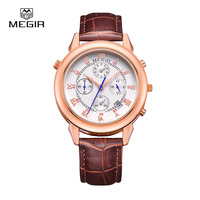 MEGIR 2013 Men S Fashion Leather Quartz Watch Casual Military Style Analog Wrist Watch Man Chronograph