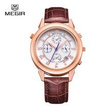MEGIR hommes en cuir de mode de quartz montre militaire occasionnel style analogique poignet montre homme chronographe marque montres pour homme 2013