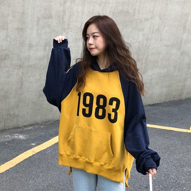 63e2f008db9 2018 Yellow White Harajuku Women Hoodie Autumn Printed Cute Hooded Top  Pocket Loose Aesthetic Ulzzang Korean