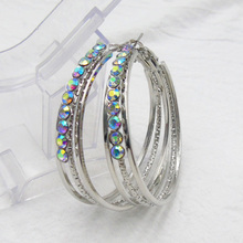 LE SKY Fashion Gold Silver Color Large Circle Earrings For Women Paved with Rhinestones Imitated Diamonds Circle Earrings