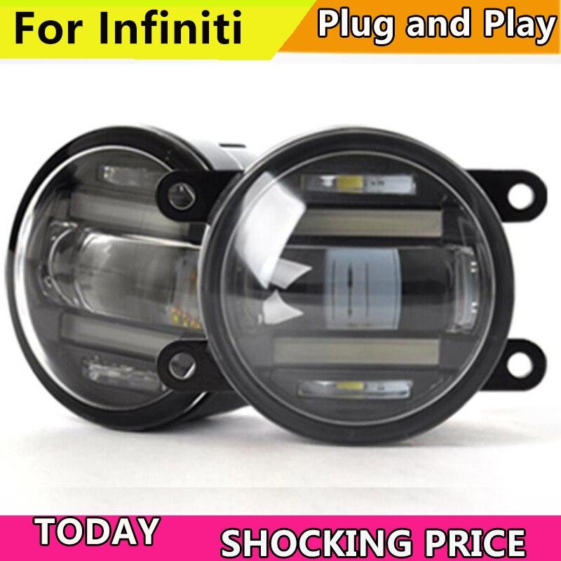 Car Styling LED FOG LIGHT for Infiniti G25 G35 G37 M25 M35 M37 Q70 LED Fog Light Auto Angel Eye Fog Lamp 2pcs white led license plate light lamps for nissan 350z 370z gtr infiniti g37 g35