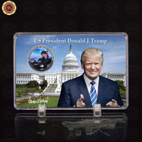 WR Famous Person Coin US President Donald Trump Metal Coin with Quality Liberty Showing Stand for Business Souvenir Gifts