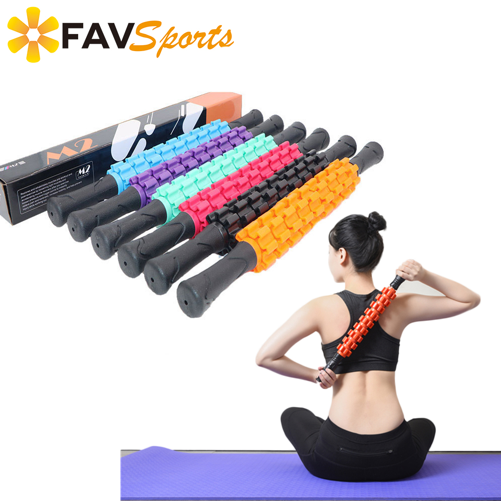 2018 High Quality 9 Spiky Ponit Yoga Massage Roller Stick Leg Back Relax Foam Roller Muscle Relieve Yoga Block Fitness Equipment
