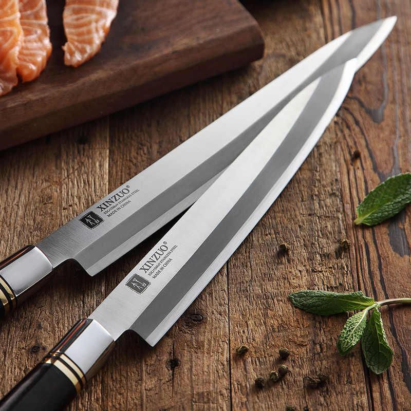 Xinzuo 240/270/300mm fileting faca com bainha x5cr15mov aço facas de cozinha japonês sashimi sushi deba faca ébano lidar com