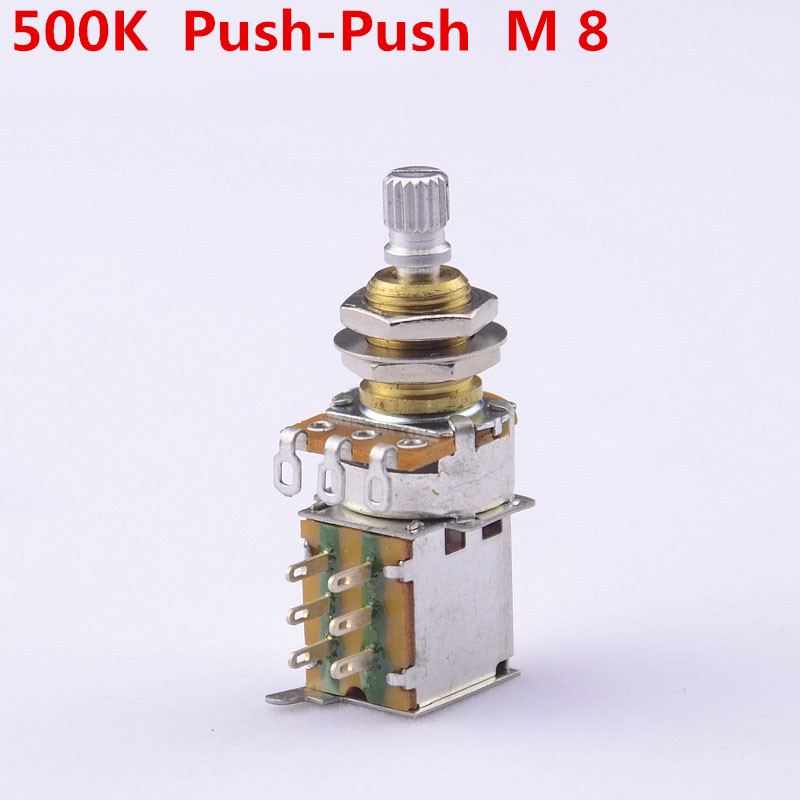 GuitarFamily Brass Shaft A500K/B500K Push Push Pot Potentiometer For Electric Guitar/Bass  ( Mounting Shaft Diameter 8MM )