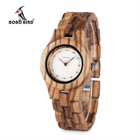 BOBO BIRD 31mm Zebra Wood Watch For Women With Wooden Band Female Watches Ladies Quartz Watch