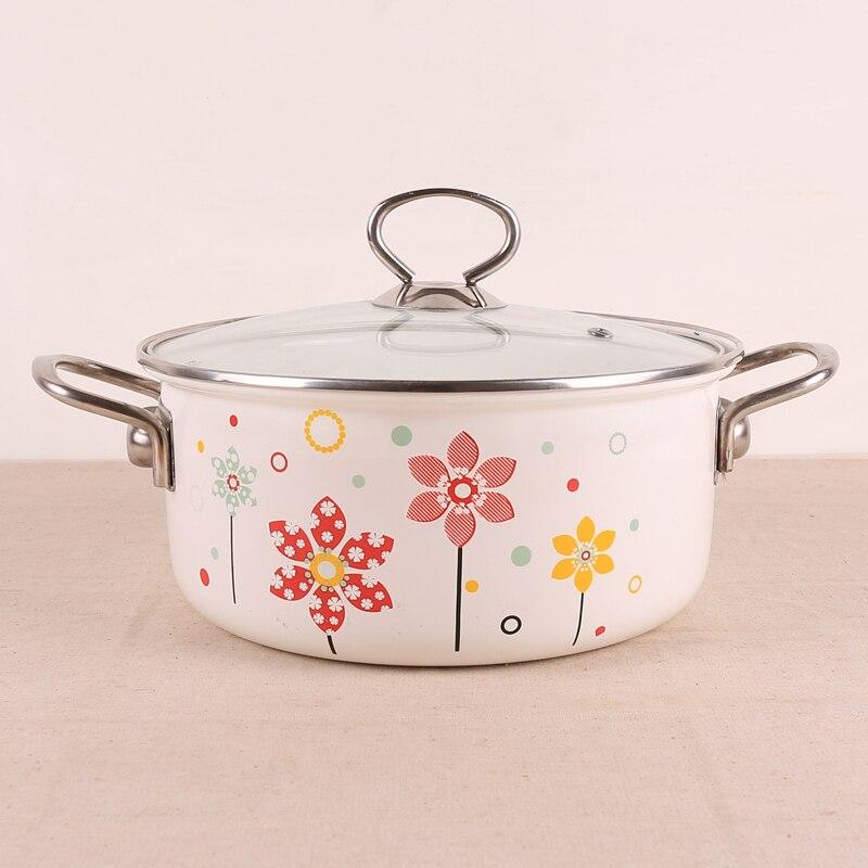 Style européen porcelaine émail épaississement double oreilles soupe poignée en acier inoxydable couvercle en verre marmite casserole 22 cm