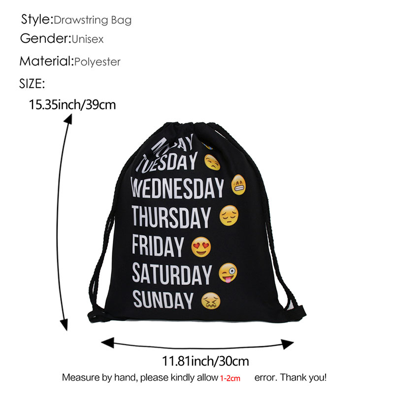 Купить с кэшбэком Black Polyester Drawstring Bags School Gym sports storage Bag Cinch Sack polyester Storage Pack Rucksack Backpack Pouch