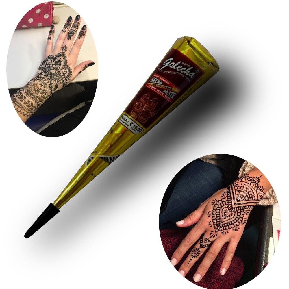 Black Henna Tattoo Paste: 1pcs Cones Indian Mehndi Henna Tattoo Paste Black Brown
