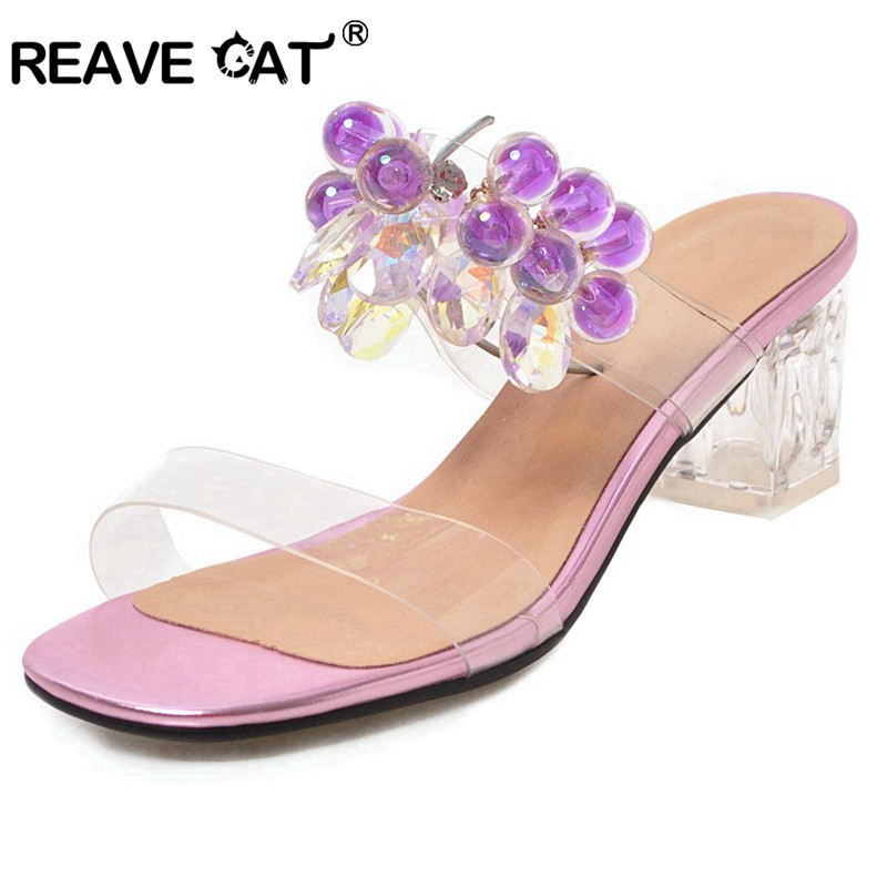 REAVE CAT New Sandals woman Rhinestone Transparent clear high heels Slip on Summer mules slipper party