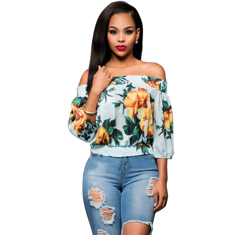 Elastic Slash Neck Summer Blusas Kimono Beach Crop Top Print Sexy Women's  Blouses Puff Sleeve Tops Shirts Women Plus Crop Tops-in Blouses & Shirts  from ...