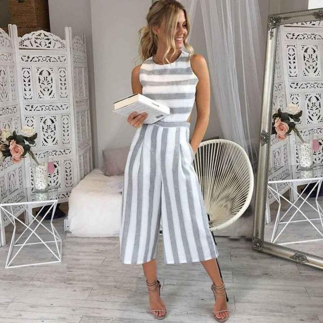 1f885459ddc Feitong 2018 Sexy Women Sleeveless Striped Jumpsuit Romper Women Casual  Clubwear Beach Casual Wide Leg Pants Outfit Playsuit