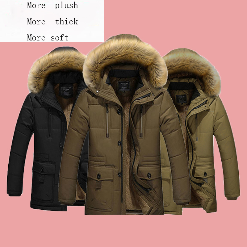 winter fashion trendy more thick slim men cotton padded zipperjacket parkas with the wool hoodie