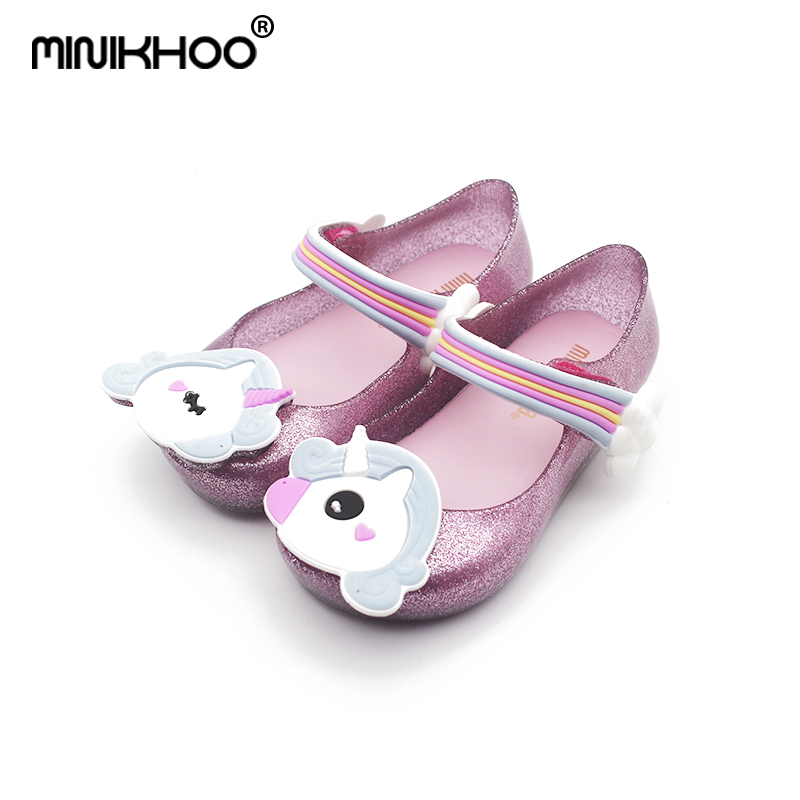 Mini Melissa Original Unicorn Pattern 3 Color Girls Jelly Sandals 2018 Baby Jelly Sandals Children Shoes Melissa High Quality