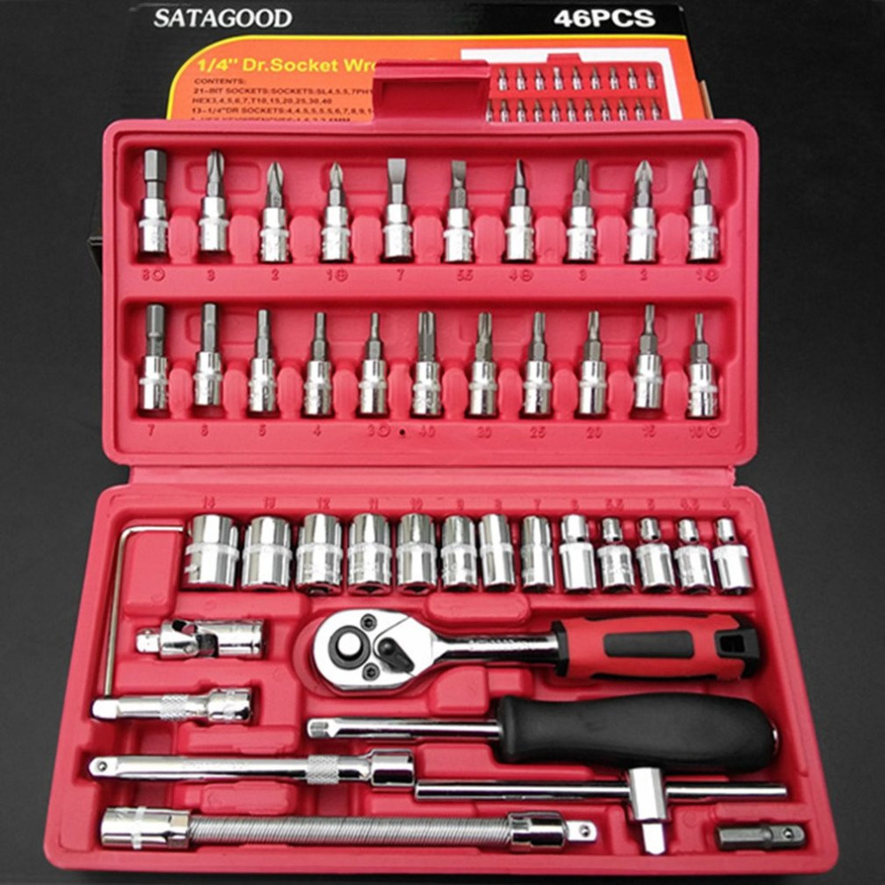 46pcs set Micro Standard Deep Metric Inch Assorted Socket Set Ratchet Tool Torque Wrench Set Car