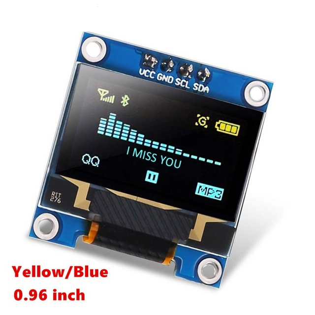 """128x64 OLED LCD LED SSD1306 Module for Arduino Raspberry Pi Display 0.96"""" Inch Blue I2C IIC Serial LED Module"""