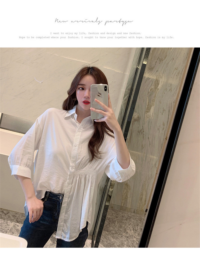 2019 Summer New Korean Version Of The Wild Long Paragraph 7 Points Sleeves Waist Loose Thin Temperament White Shirt Women (16)