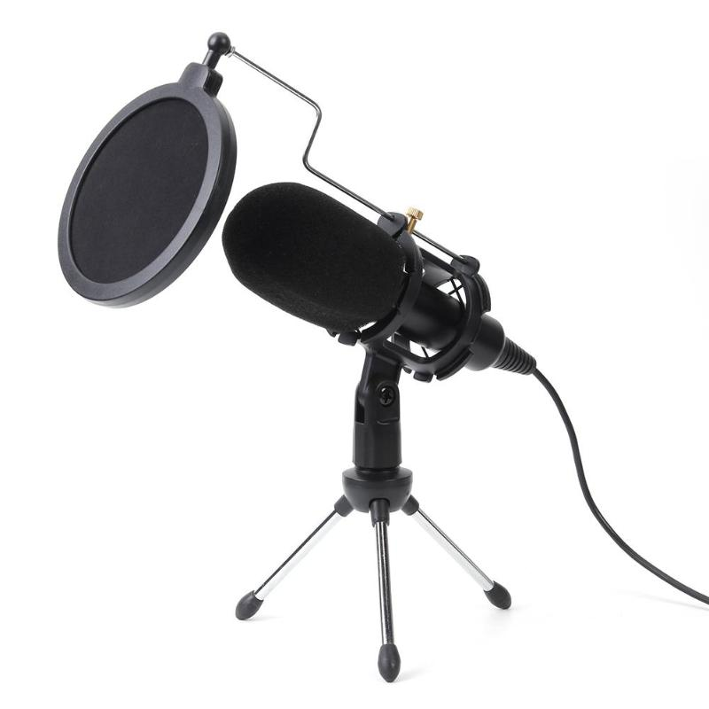 Microphone Condenser USB Microphone Studio Mic With Folding Stand Tripod Filter Sponge For PS4 Game Computer