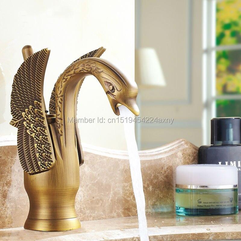 Gizero Vintage Faucet Swan Design Shape Antique Brass Bathroom Basin Mixer Single Handle Hot & Cold Water Tap GI60 donyummyjo luxury bathroom basin faucet brass golden polish swan shape single handle hot