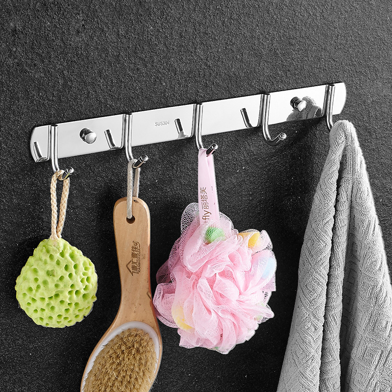 Hanger 3-8 Hooks for Kitchen Bathroom Bedroom Balcony SUS304 Stainless Steel Wall Mounted Cloth Rack Shelf