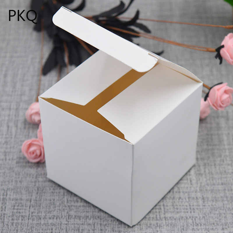 5pcs 5x5x5/8x8x8cm 5 sizes Small Kraft paper gift packaging box,square kraft cardboard handmade soap candy box,DIY white wedding