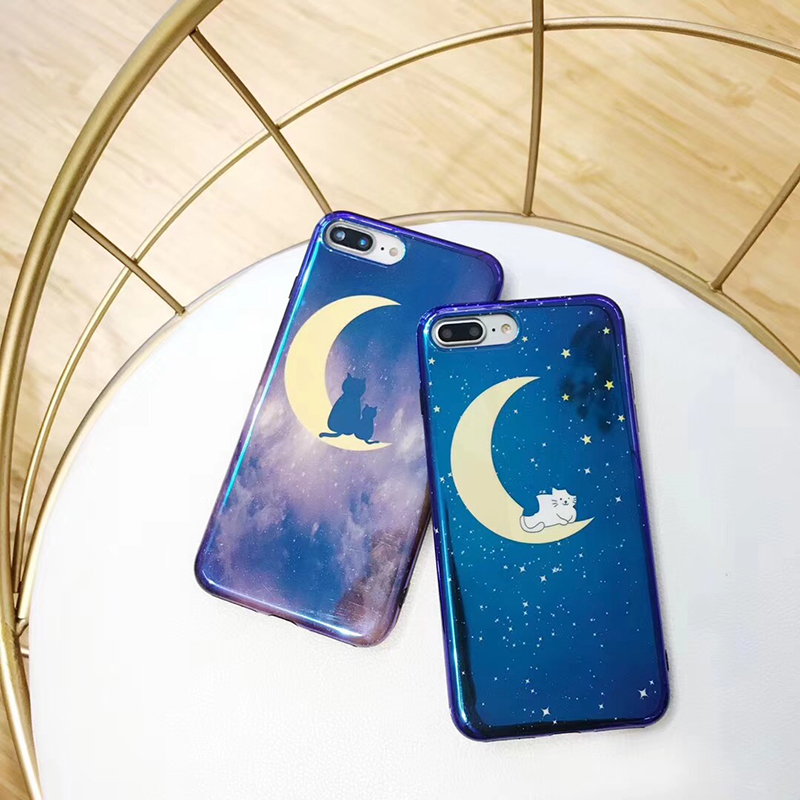 Blue light moon cat glossy soft case for iPhone X 8 8plus 6 6plus black edge soft case for iphone 6s 6splus 7 7plus