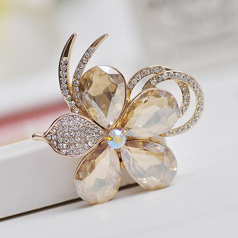 ZOSHI Brand Luxury Bijoux Large Crystal Flowers Brooches Gold Color Corsage Wedding Broach Bouquet Hijab Pin Broches Party Women