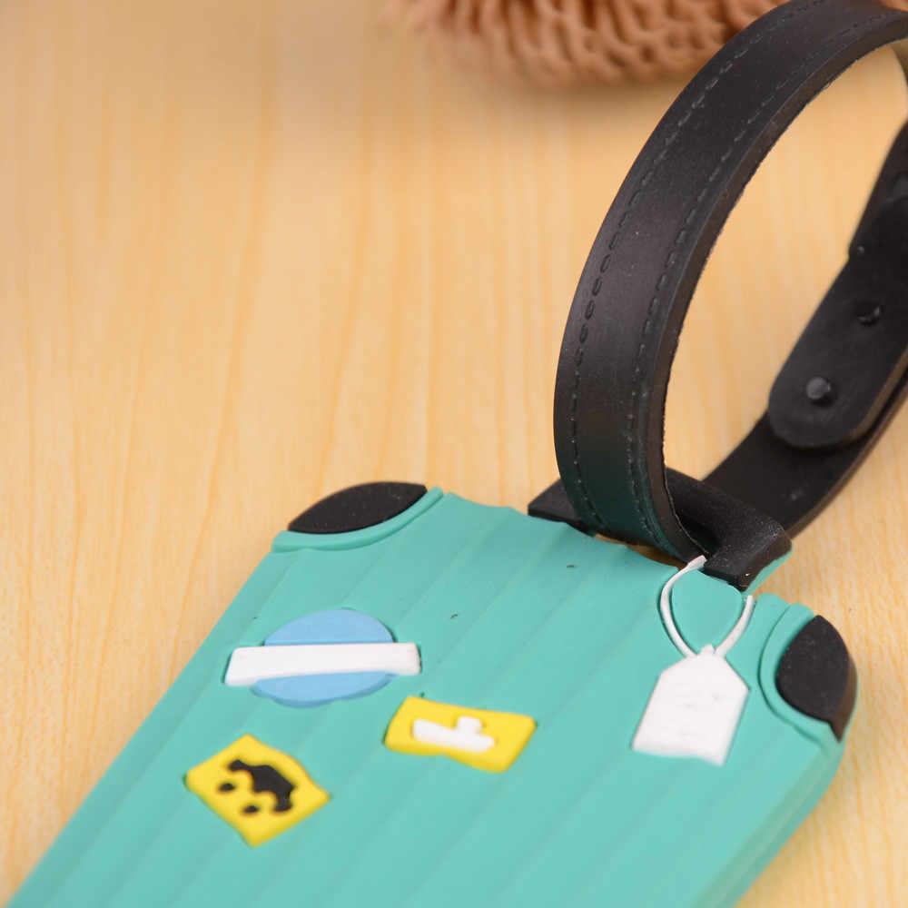 Transfer sevimli erkekler kadınlar seyahat 1 adet yeni bavul bagaj etiketleri kimlik adres tutucu silikon tanımlama etiketi yüksek kaliteli Aug17 *