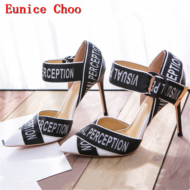 Red Black Thin High Heels Pumps Women Summer Autumn Letter Ribbon Sandals Eunice  Choo 2018 Metal Buckle High-heeled Shoes Woman ed1a7e20b73b