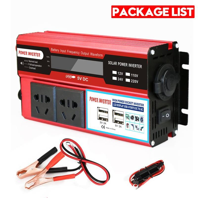 KROAK 4000W 4 USB onduleur DC 12/24V à AC 220 V adaptateur de voiture convertisseur de Charge écran LCD transformateur à onde sinusoïdale modifiée - 6