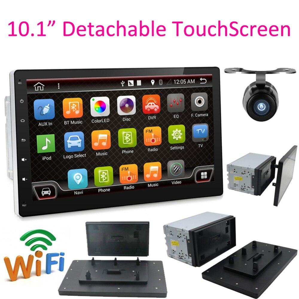 Наконец продажи 10,1 2 DIN четырехъядерный Автомобиль Радио Стерео Авторадио gps навигация съемный экран полный сенсорный Android 6,0 без DVD SD