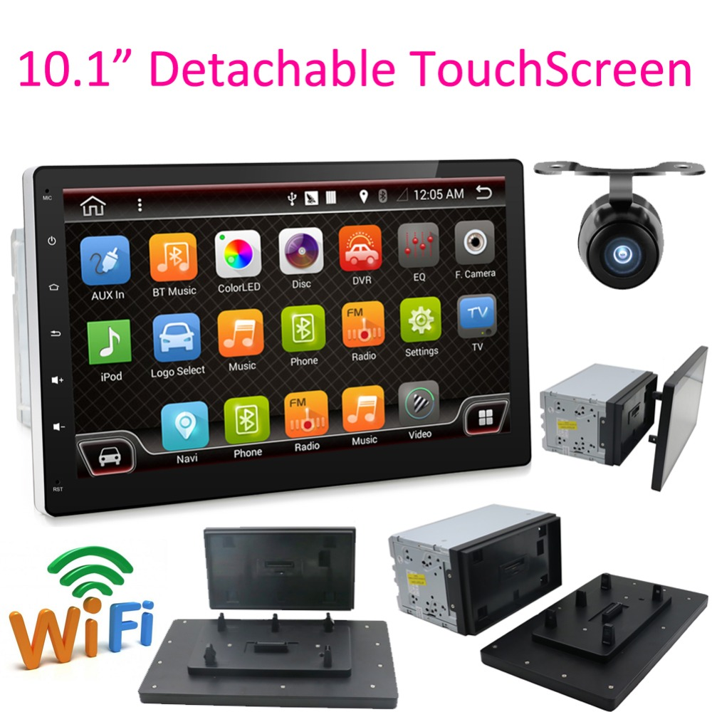 "Akhirnya Penjualan 10.1 ""2 DIN Quad Core Car Radio Stereo Autoradio GPS Navigasi Layar Dilepas Full Touch Android 6.0 No DVD SD"