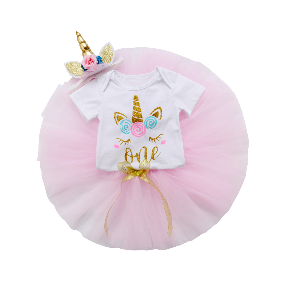Lovely Newborn Baby Girl Unicorn Romper Tops+Tutu Skirted Headband 3PCS Outfits Princess Baby Clothing Set 0-24M цена