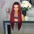 Middle part soft hair black to burgundy ombre wig glueless synthetic lace front wigs heat resistant hair wig for black women