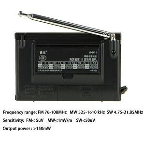 Image 2 - TECSUN R 911 Radio AM/ FM / SM (11 bandas) Receptor de transmisión de bandas múltiples con altavoz incorporado negro y azul barato y ligero