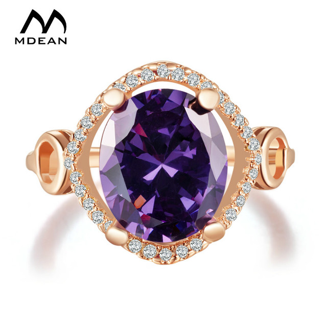 Aliexpress Buy MDEAN Rose Gold Color Ring Purple Stone AAA