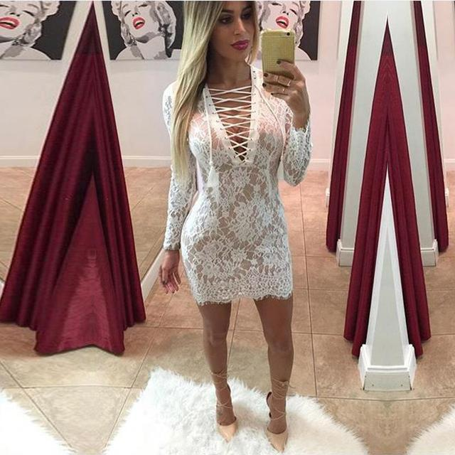 7bee7b23f0 hot sale women deep V neck white lace Dress sexy lace up long sleeve high  Waist Package hip dress Hollow Out Bandage Dress